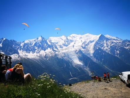 Arrivée du Marathon avec vue sur le Mont Blanc